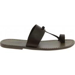 Sandals tong cuir couleur boue pour homme artisanales