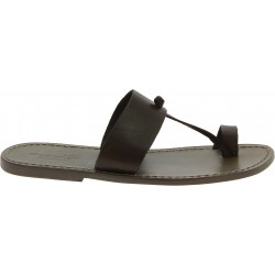 Mud color leather thong sandals Handmade in Italy