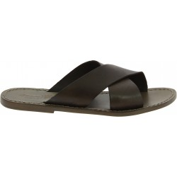 Men's leather slippers handmade in Italy in mud color leather