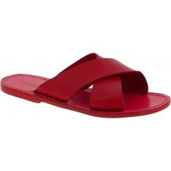 Zapatillas de cuero rojo para hombre hecho a mano en Italia