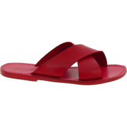 Men's leather slippers handmade in Italy in red leather