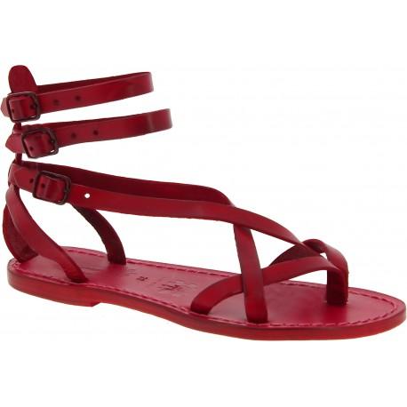 Spartiate sandales pour femme en cuir rouge fait à la main