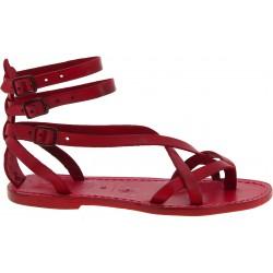 Damen Riemchen-Sandalen aus rote Leder in Italien Handgemachte