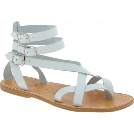 Sandales gladiateur homme en cuir blanc artisanales