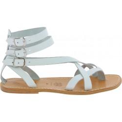 Herren-Sandalen im Gladiator-Stil aus weisse Leder in Italien Handgemacht