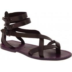 Sandalias gladiadoras romanas hombre en piel violeta hechos a mano