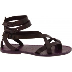 Men's violet leather roman gladiator sandals Handmade in Italy