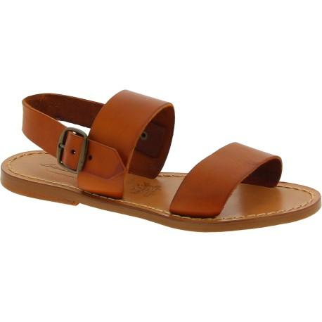 Sandalias franciscanas de cuero marrón para mujeres hechas a mano en Italia