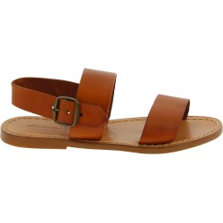 Tan leather women's franciscan sandals handmade in Italy
