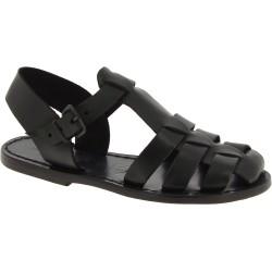 Sandalias planas negro para las mujeres reales de cuero hecho a mano en Italia
