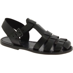 Black flat sandals for women real leather Handmade in Italy