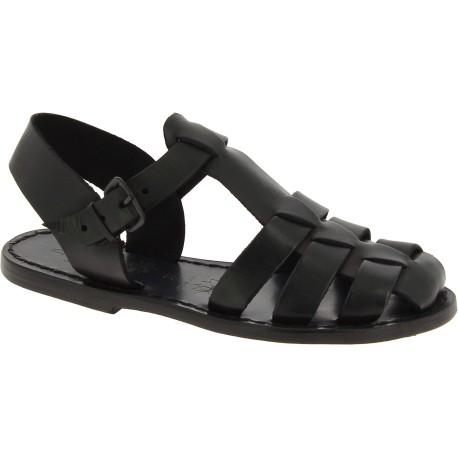Sandales noir pour femme en cuir travaillé à la main en Italie