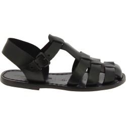 Schwarzen Damen-Sandalen aus echtem Leder in Italien von Handgefertigt