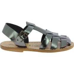 Flat sandals for women in titanium color leather Handmade in Italy