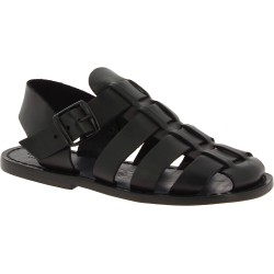 Handmade men's fisherman sandals in black leather Made in Italy