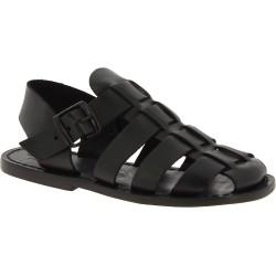 Sandalias frailes para hombre en cuero negro hechas en Italia
