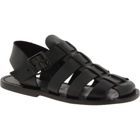 Sandales religieux homme en cuir noir fait en Italie