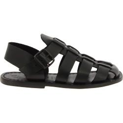 Sandali frate uomo in cuoio e pelle nera fatti a mano