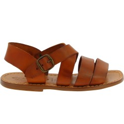Handmade men's sandals in tan leather Made in Italy