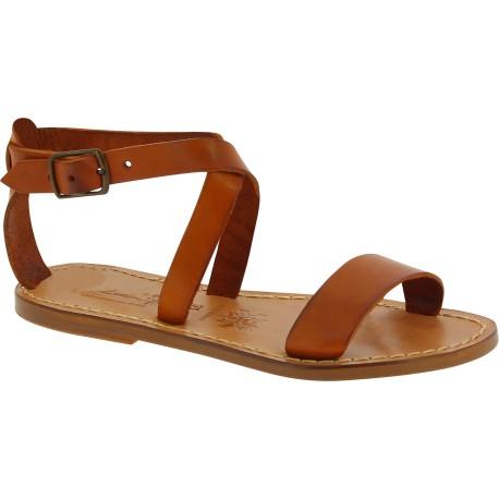 Sandales pour femme en cuir marrron travaillé à la main en Italie