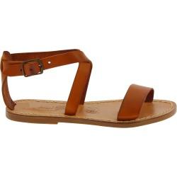 Sandalias planas en cuero marrones hecha a mano en Italia
