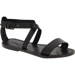Sandales pour femme en cuir noir travaillé à la main en Italie