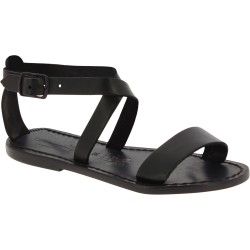 Women's sandals in black leather handmade in Italy