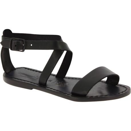 Sandalias planas en cuero negro hecha a mano en Italia