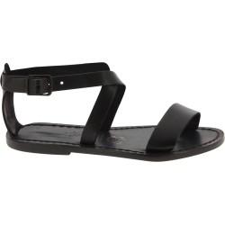 Damen-Sandalen aus schwarze Leder in Italien von Handgefertigt