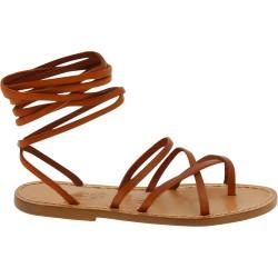 Sandales spartiates en cuir marron artisanales fait en Italie