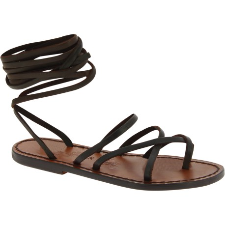 Sandali alla schiava in pelle marrone scuro fatti a mano in Italia