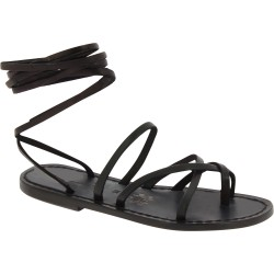 Women's black strappy leather sandals handmade in Italy