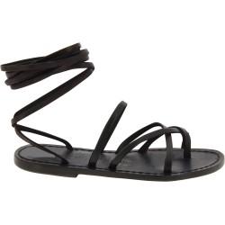 Sandales spartiates en cuir noir artisanales fait en Italie