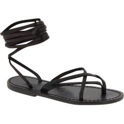 Sandales spartiate noir pour femme en cuir travaillé à la main en Italie
