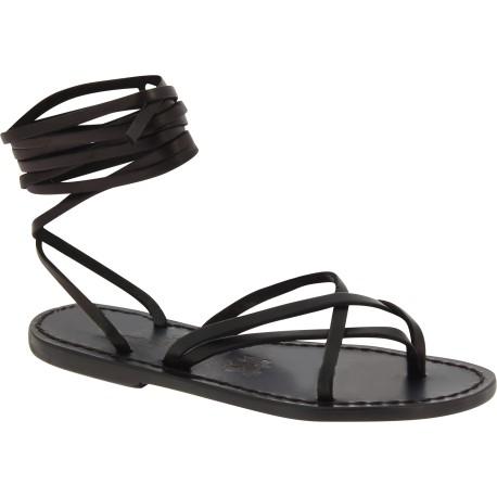 Schwarzen Riemchen Sandalen aus Leder in Italien von Handgefertigt