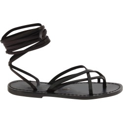 Handmade black leather strappy sandals for women Made in Italy