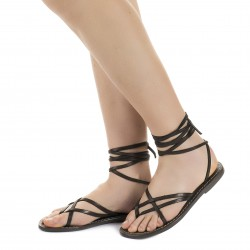 Sandali alla schiava artigianali in pelle color fango
