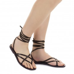 Flat strappy leather sandals violet color handmade in Italy