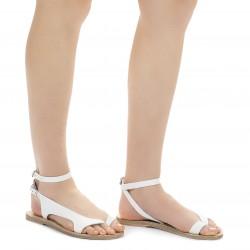 Riemchen-Sandalen für Damen aus Weiße Leder in Italien von Handgefertigt