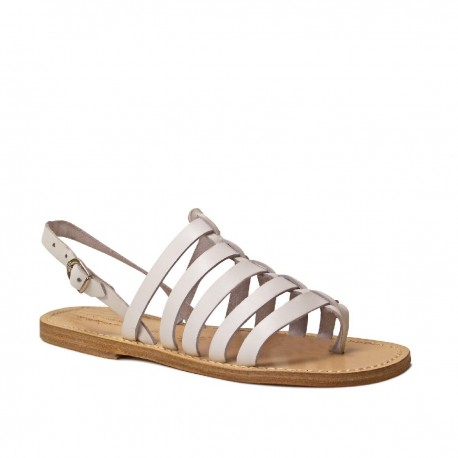 Flat white sandals for women in real leather Handmade in Italy