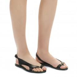 Riemchen-Sandalen für Damen aus grüne Leder in Italien von Handgefertigt