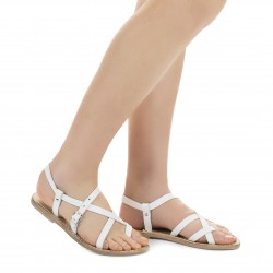 White leather flat sandals for women handmade in Italy