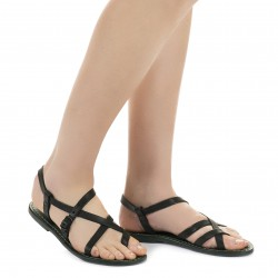 Damen Riemchen-Sandalen aus grünes Leder in Italien von Handgefertigt