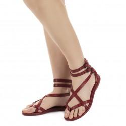 Sandalias de tiras de cuero rojo para mujeres hechos a mano