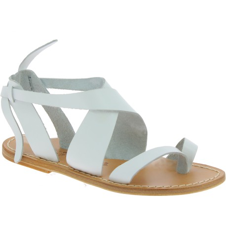 Women's sandals in white leather handmade in Italy