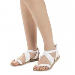 Sandalias de mujer en cuero blanco hecho a mano en Italia