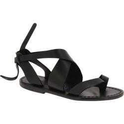 Damen Sandalen aus Schwarz Leder flach in Italien von Handgefertigt