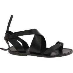 Sandalias de cuero negro para mujer hecho a mano en Italia