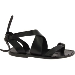 Women's flat black leather sandals handmade in Italy