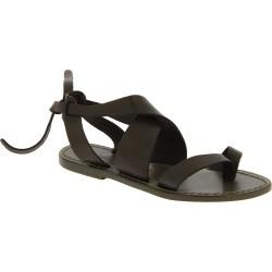 Sandales en cuir couleur boue pour femme travaillé à la main en Italie